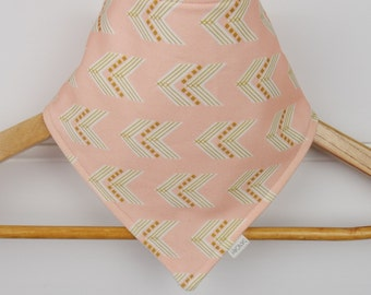 Organic Baby Bandana Bib with Pink Gold Arrows Pattern