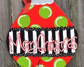 MERRY CHRISTMAS Door Hanger, Christmas Door Hanger, Christmas Painting