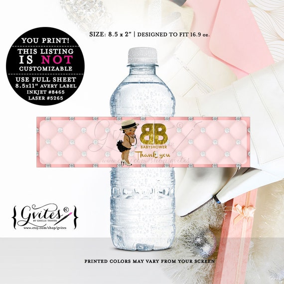 Designer African American water bottle labels, decor, stickers, tags, label, printable, pink gold, couture baby, diamonds pearls {DARK/JET}