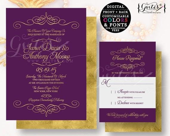 Purple & gold wedding invitation, customizable invites gold glitter modern printable, plum, digital, couture glitz glam, modern double sided
