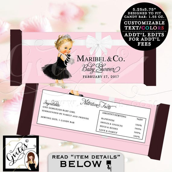 Pink Candy Bar Wrapper - BABY SHOWER baby and co Printable party chocolate bar wrapper, party decor favors,  DIGITAL, customizable colors.