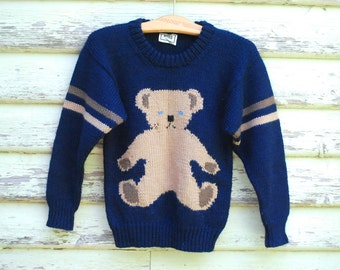 90s Vintage Grunge Teddy Bear Sweater Navy Blue Knitted Wool Cute Kawaii Jumper Stripes Pullover Vtg 1990s Size XS-S