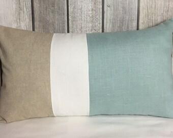 Color Block Pillow. Throw Pillow. Aqua Blue Pillow. Linen Pillow. Lumbar Pillow