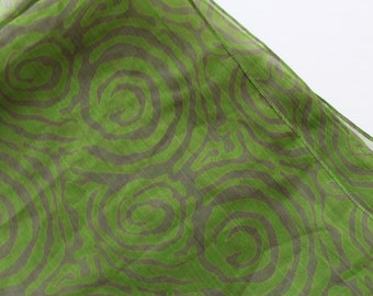 Green scarves - spring scarves - colorful scarves - print scarf with grey swirls - unique chiffon scarves - light weight scarf