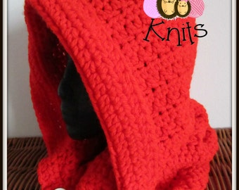 Bright Red Crochet Snood - Teen/Adult