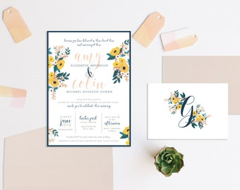 Navy and Gold Watercolor Floral Wedding Invitation