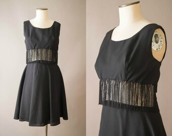 vintage 1960s dress / 60s tinsel and fringe party dress / medium / Her Own Beat Dress
