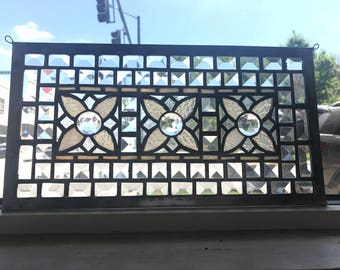 Beveled Stained Glass Window Panel Flower
