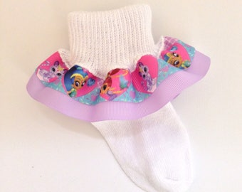 Shimmer and Shine Ruffle Socks - Shimmer and Shine Socks - Ruffle Socks - Character Girls Socks - Toddler Socks