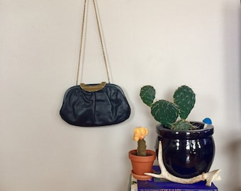 Faux Leather and Gold Chain Purse