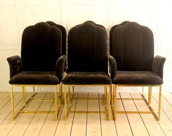 Vintage Set of 6 Cal Style Brass Black Velvet Dining Chairs Milo Baughman Style Modern 70's 80's Square Base