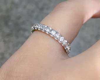 18K White Sapphire Eternity Band 3mm Pave Sapphire Matching Eternity Band 18K Full Eternity Wedding Ring Sapphire Birthstone Stacking Ring