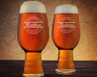 Personalized IPA Beer Glasses with Groomsman Monogram Design Options & Font Selection with Optional Monogrammed Bottle Opener (Each)