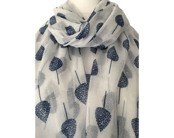 White Scarf with a Navy Blue Tree Print, Ladies Ivory Trees Wrap Shawl, sarong