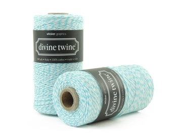 Blue, Bakers Twine-240 Yards. Divine Twine, Bakers Twine. Gift Tags, Wedding, Tag Twine, Cotton, Made in USA