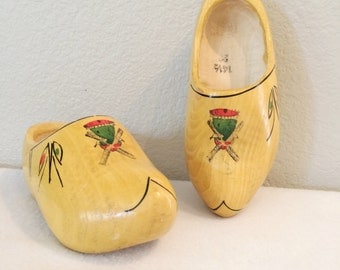 Vintage Set of (2) Wood Childrens Dutch Shoes Handpainted Windmills 14 1/2 23 Marked