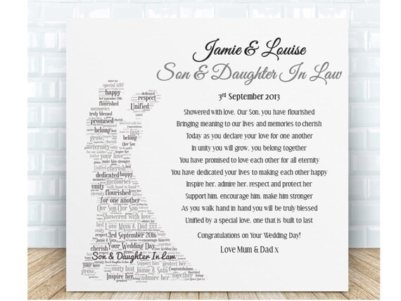 Daughter In Law Personalized Poem: Son & Daughter In Law Poem Ceramic Plaque. Personalised Gift