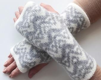 ladies knitted wrist warmers, fingerless gloves, knit arm warmers, fingerless mittens, grey lambswool mitts, knitted lambswool wrist warmers