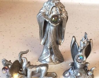 Pewter Merlin and Dragon figurines