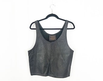 The Black Leather Tank Top
