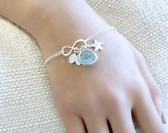 layered Aquamarine Bracelet Aquamarine Jewelry custom Initials Infinity Bracelet starfish monogram bracelet monogram jewelry custom letters