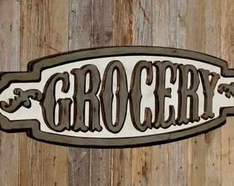 Kitchen Wall Decor Rustic Grocery Sign Vintage Grocery Sign Large Grocery Sign Grocery Farmhouse Sign Grocery Wood Sign Kitchen Pantry Sign