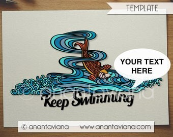 Papercut Template Commercial | Golden Fish in water | Commercial Use | Design by Anantaviana