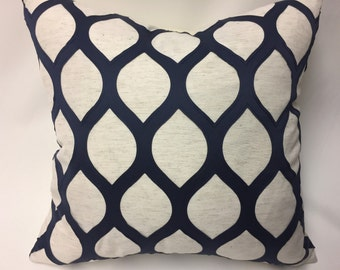 Navy and Ivory Pillow Cover in Geometric Embroidered Diamond
