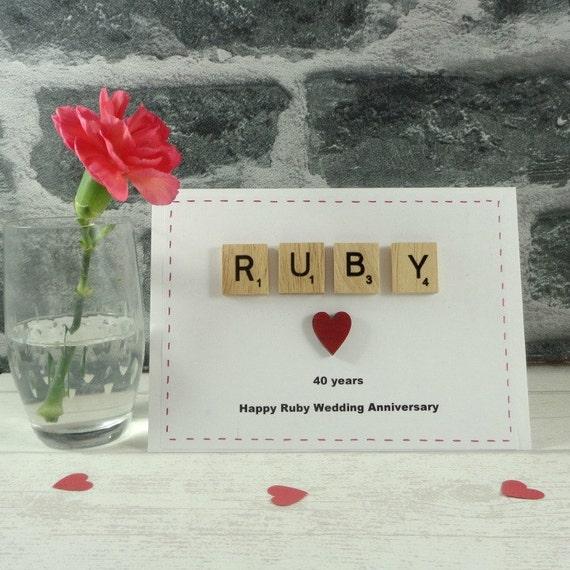 RUBY Wedding Anniversary Card Happy Anniversary Married 40