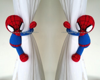 A pair of Spiderman curtain tie back,  Handmade Spiderman crochet,  Nursery tie backs.  MADE TO ORDER***