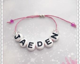 Personalised adjustable girls cord bracelet, geft, party bag filler