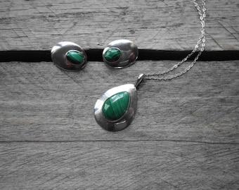 Modernist Malachite Sterling Silver Necklace & Earring Set - Silver Malachite Demi Parure