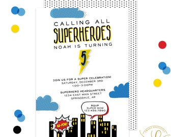 Superhero Invitation | Superhero Party | Superhero Birthday Party | Superhero Birthday Invitation | Superhero Invite | Printable Invitation