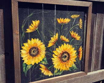 Old window screen sunflowers, indoor and outdoor art , rustic sunflower