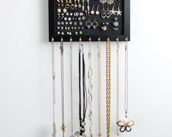 Hanging Jewelry Organizer - 8x10 Black Frame - Hooks for Necklaces