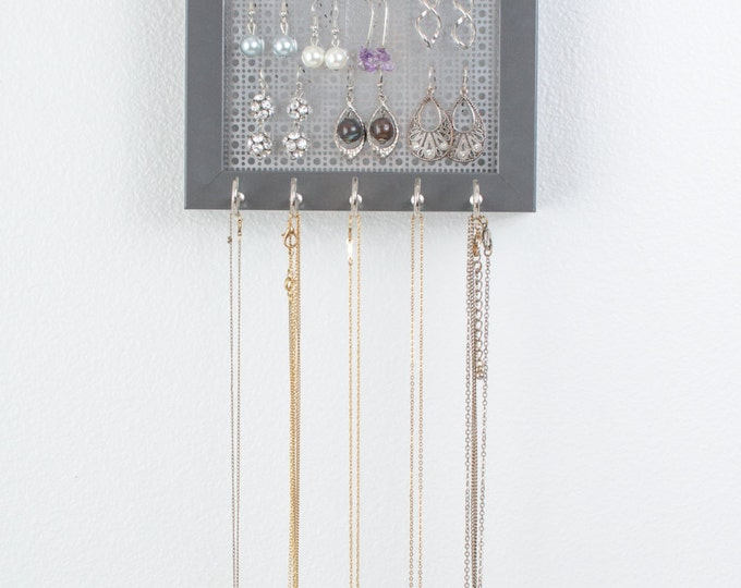 Hanging Necklace Organizer - 5x7 Gray Frame - Metal Screen - Hook Earring Holder