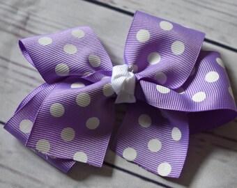 Lavender White Polka Dot Hair Bow