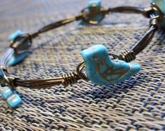 Jeweled Wire Wrapped Bangle Bracelet