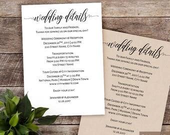 Wedding details card etsy stopboris Choice Image