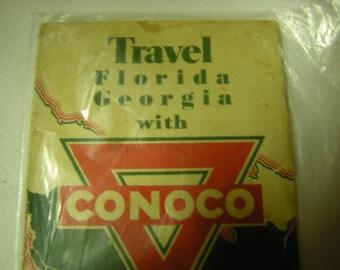 vintage road map-Florida and Georgia maps-1933 map-Conoco travel bureau-geography-collection-ephemera-retro-