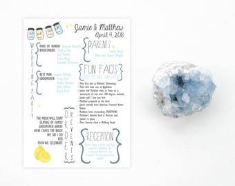 Printable Mason Jar Fun Facts Wedding Program - Color Customizable