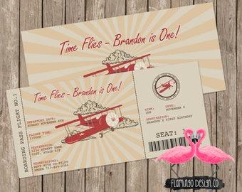 Airplace Ticket Birthday Invitation, Airplane Birthday Invitation