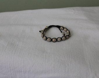 Black and Rhinestone Friendship Bracelet