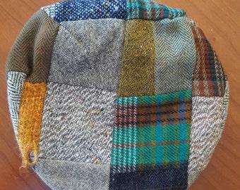 Vintage used patchwork wool Newsboy cap by John Hanly &Co. Ltd. Woven in Ireland believe it's size 7 3/8