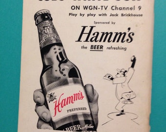 VERY RARE, original , 1958 Hamms beer , with bear, cardboard book back