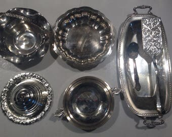 Misc. lot of silver/silverplate bowls, platters, etc.