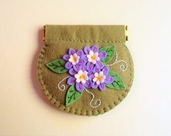 Coin Purse, Change Purse, Felt Wallet, Felt Flowers, Flower Wallet, Floral Wallet, Flower Purse, Small Purse, Cute Purse, Flower Gift Purse