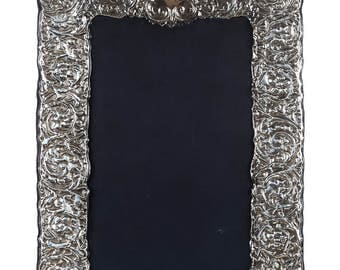 Sterling Silver Repousse Picture frame for 8x10 Photos