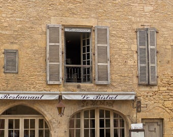 French Cafe Bistro Photography: Photo of the windows and doors of a French Bistro Restaurant in France.  Print Photograph on Paper or Canvas