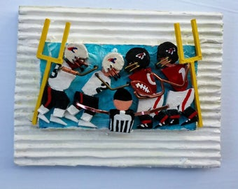 Football Art 3D Mixed Media Abstract Art Painting Assemblage by Anthony Thomas